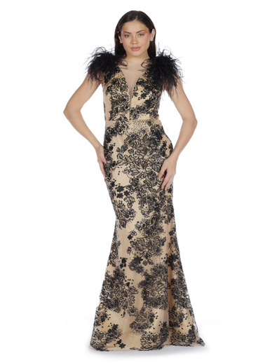 Pierre Cardin Jakarlı Omuzu Tüylü Uzun Abiye Elbise Siyah